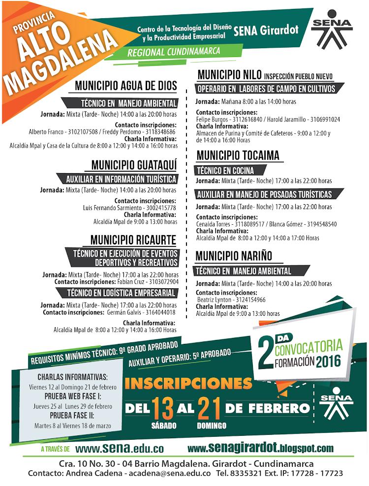 Oferta académica para las sedes del Alto Magdalena