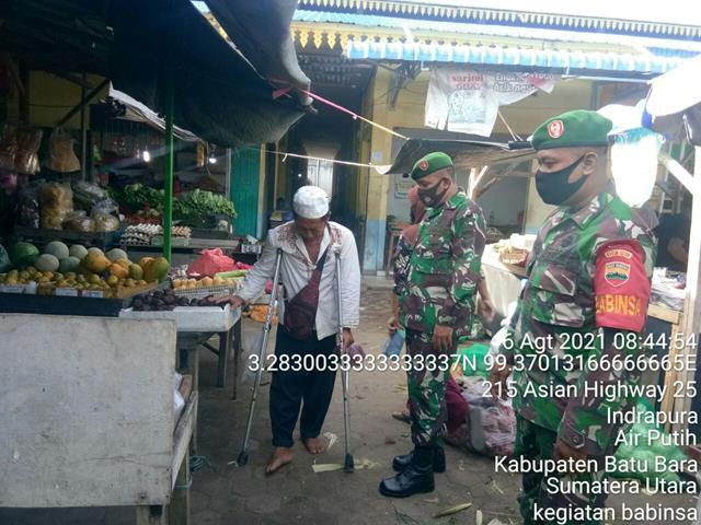Pam Disiplin Mandiri Covid-19 di Pasar Delima Indrapura Dilakukan Personel Jajaran Kodim 0208/Asahan