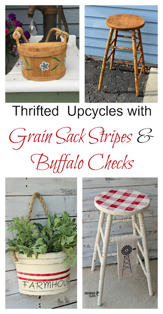 Rummage Sale Stool & Planter Upcycled with Buffalo Checks & Grain Sack Stripes #upcycle #stencil #buffalocheck #grainsackstripe
