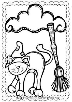 Dibujo de halloween escoba y gato de bruja para colorear