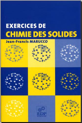 Livre : Exercices de chimie des solides - Jean-Francis Marucco PDF