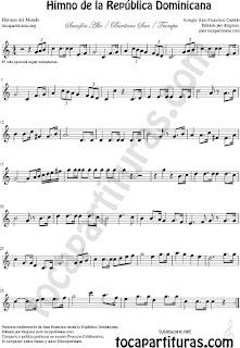 Himno de la República Dominicana Partitura de Saxofón Alto y Sax Barítono Sheet Music for Alto and Baritone Saxophone Music Scores