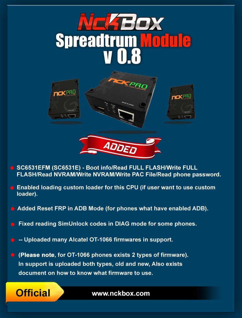 NCK Box /PRO Spreadtrum Module v1 0 Update Released