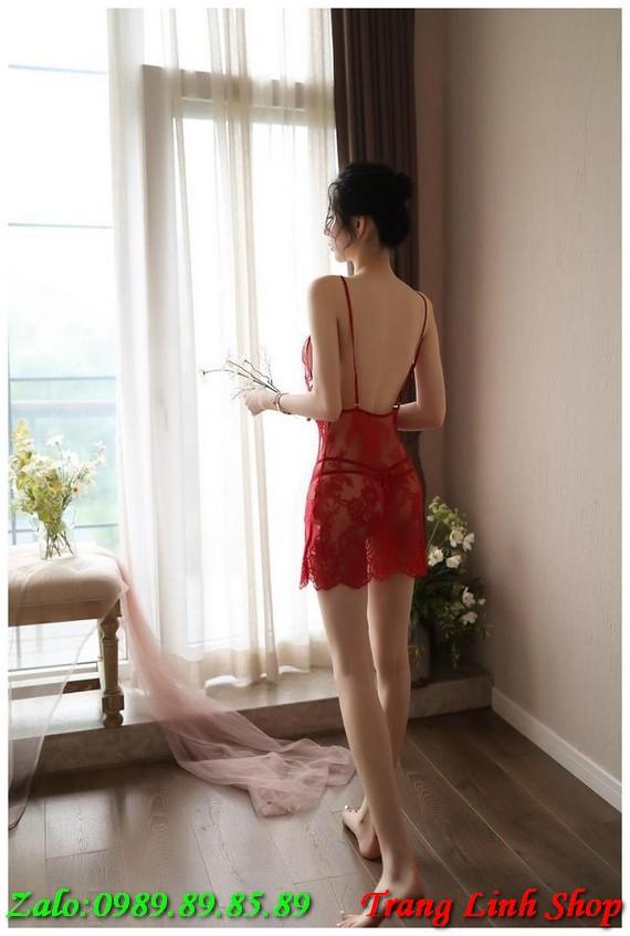 váy ngủ ren sexy 2 dây xuyên thấu nội y 16