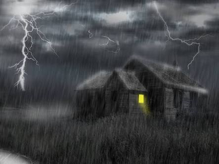 A hut in a stormy weather