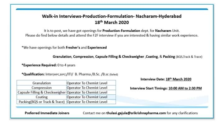 Sri Krishna Pharmaceuticals Ltd – Walk-In Interviews for Freshers & Experienced Candidates on 18th Mar' 2020