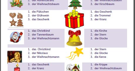 Begriffe Weihnachten.Eine Kleine Deutschkiste Weihnachten Wortschatz Was Ist Richtig Hier