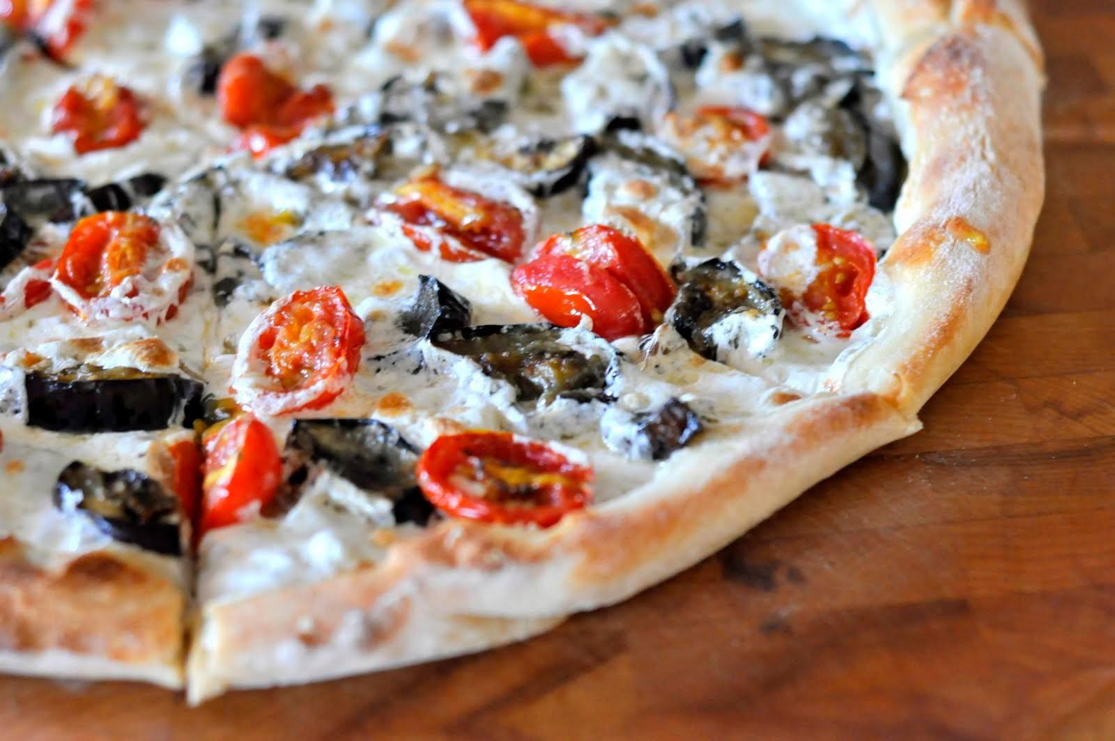 Pizza with Eggplant, Grape Tomatoes, and Fresh Mozzarella