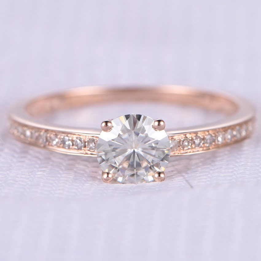 Simple Tips in Buying Couple, Promise, Engagement and Wedding Rings | Moissanite Engagement Rings: 6.5mm Round cut 1 ctw Moissanite and Diamond Engagement Ring 14K Rose Gold Simple Band