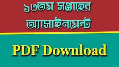 ১৩তম সপ্তাহের অ্যাসাইনমেন্ট PDF Download
