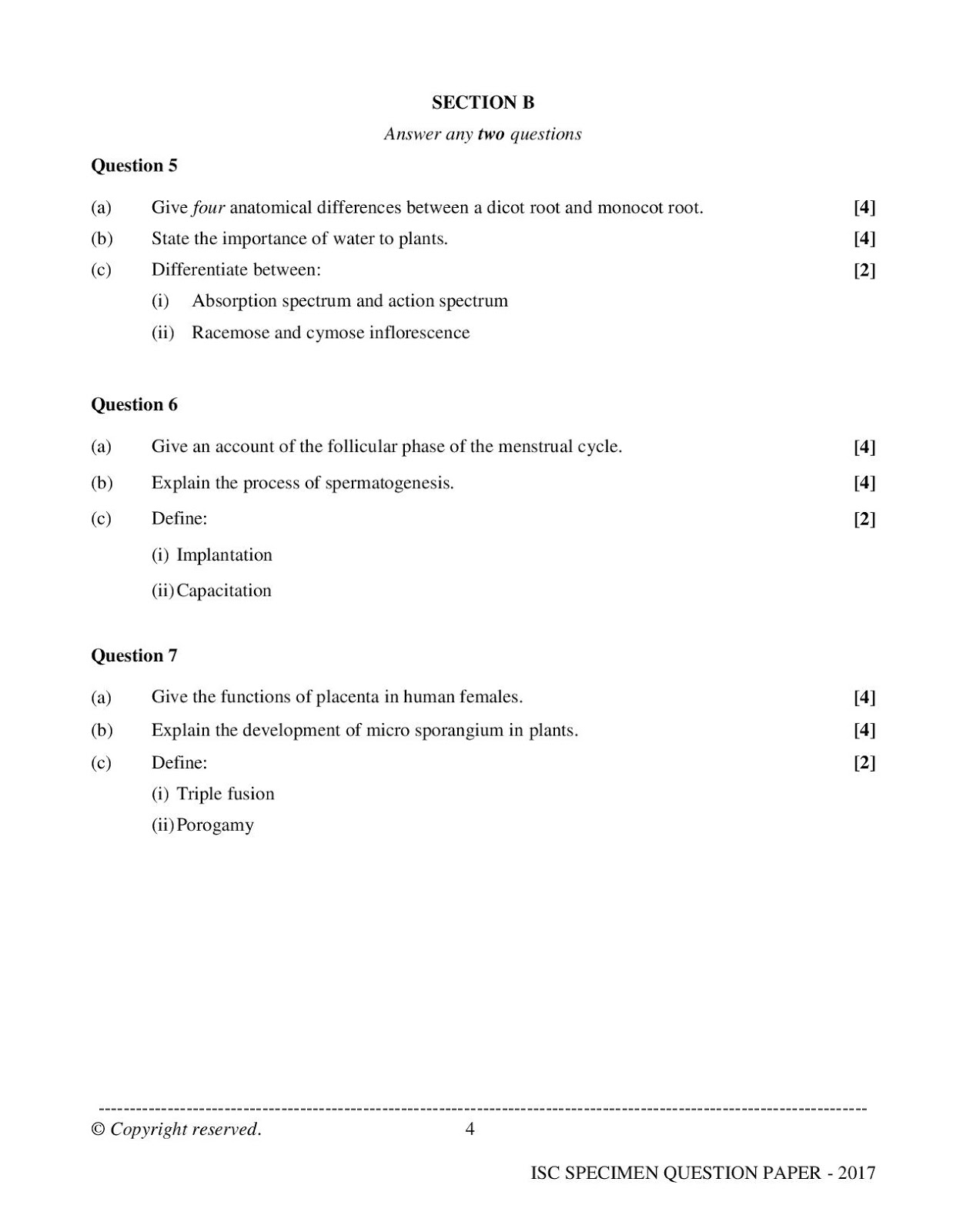 isc 2017 class 12th biology Specimen question paper