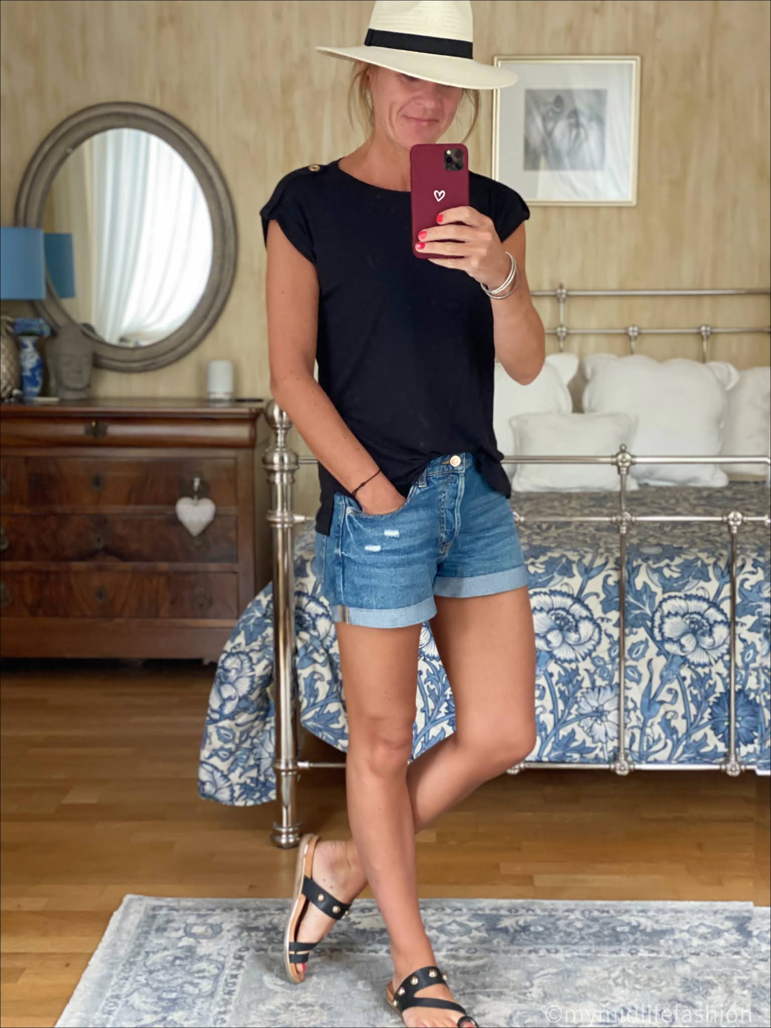 my midlife fashion, saint and Sofia turn up tee, Zara Panama hat, h and m boyfriend denim shorts, carvela karafe sandals