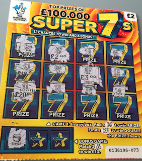 £2 Super 7s Scratchcard Win