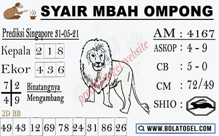 Syair Mbah Ompong SGP Senin 31-05-2021