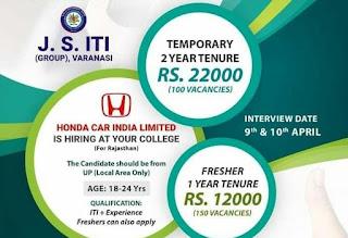 Honda Cars India Ltd ITI Jobs Campus Placement Drive For Freshers & Experienced Candidates at JS Group of ITI Varanasi, Uttar Pradesh