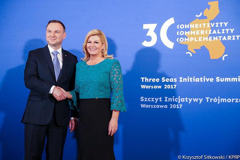 Президенти Польщі і Хорватії, Анджей Дуда і Колінда Грабар-Китарович на саміті Ініціативи Тримор'я