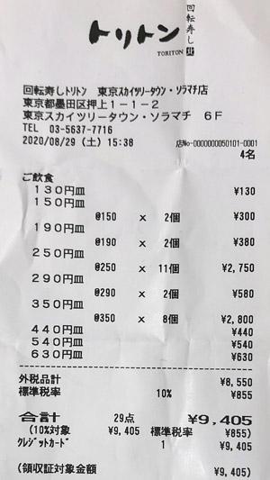 トリトン 東京スカイツリータウン・ソラマチ店 2020/8/29 飲食のレシート
