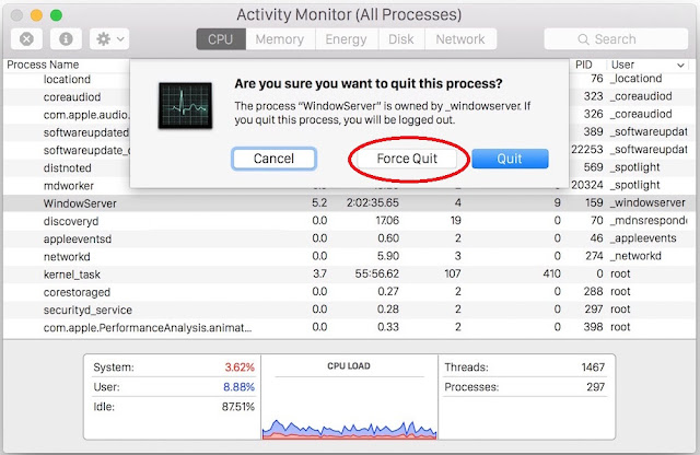 Force Quite OSX.CpuMeaner virus program