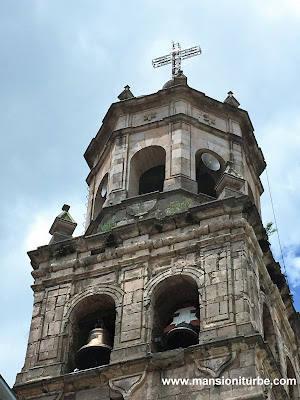 Tower of the Parish of San Diego de Alcala in Quiroga, Michoacán