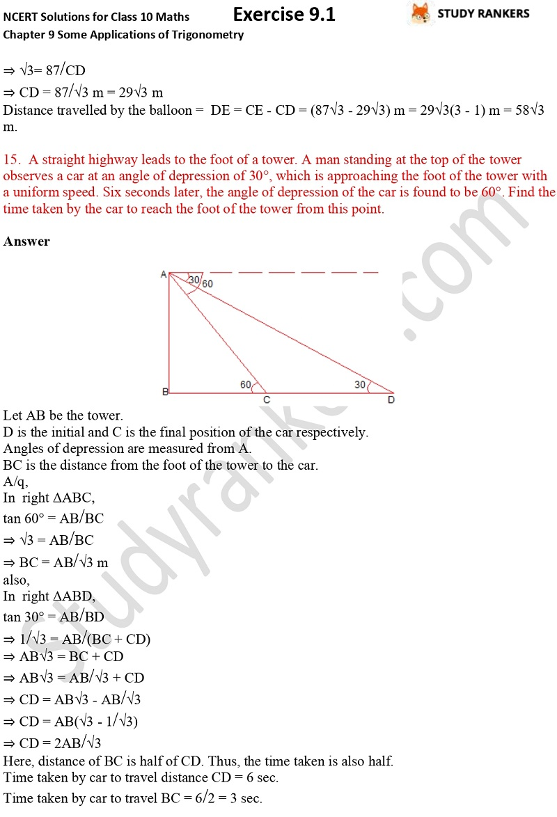 NCERT Solutions for Class 10 Maths Chapter 9 Some Applications of Trigonometry Exercise 9.1 Part 12