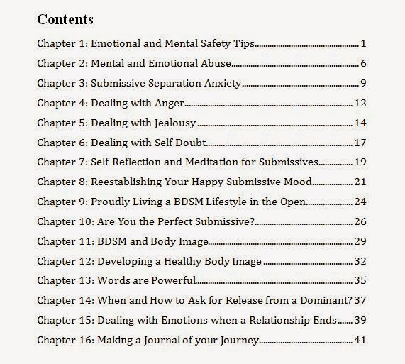 BDSM Basics for Submissives - Contents - non fiction educational book
