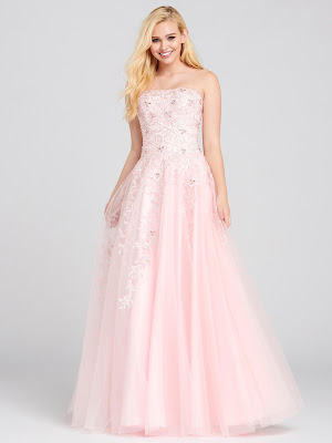 Ellie Wilde Strapless a-line pink color prom dress