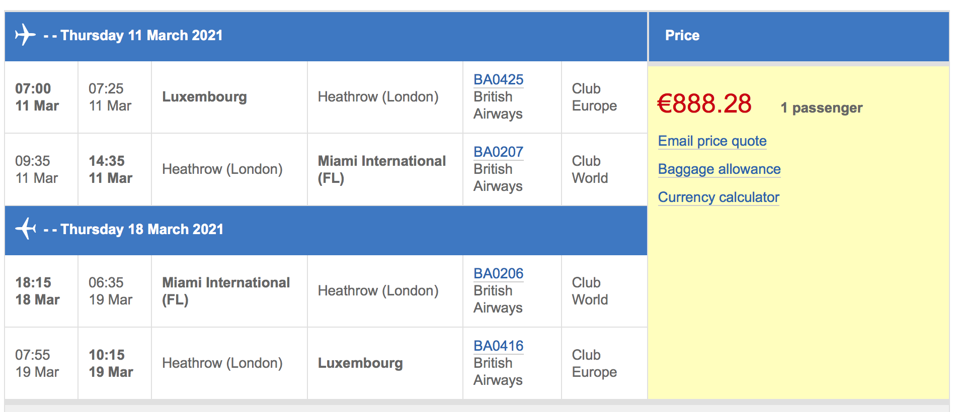 Calmctravels business class deal
