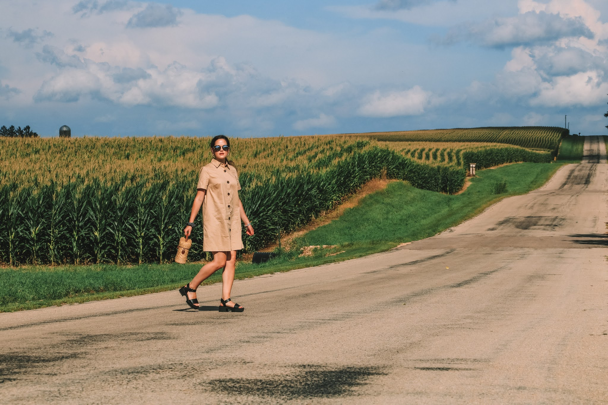 Fashion blogger Kathleen Harper doing a midwestern photo shoot in the middle of nowhere in Illinois.