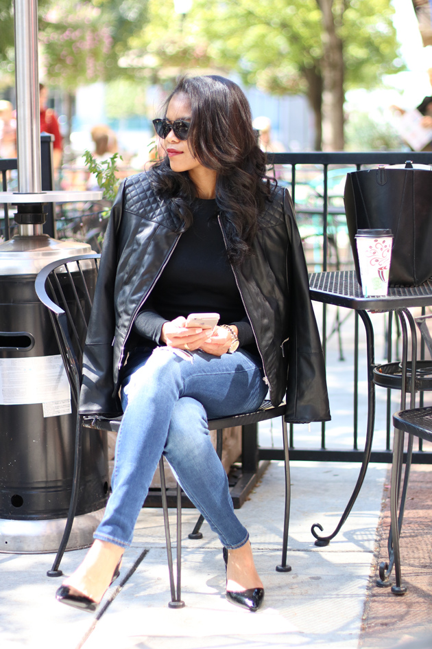 Moto Jacket, Distressed Jeans & Slingbacks | via Savor Home
