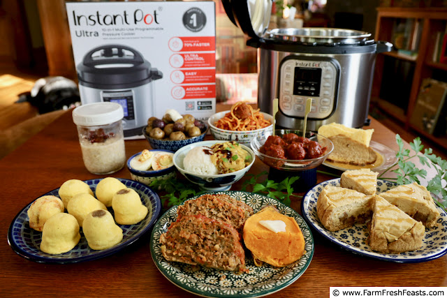 image of Instant Pots and a variety of foods made in the Pots