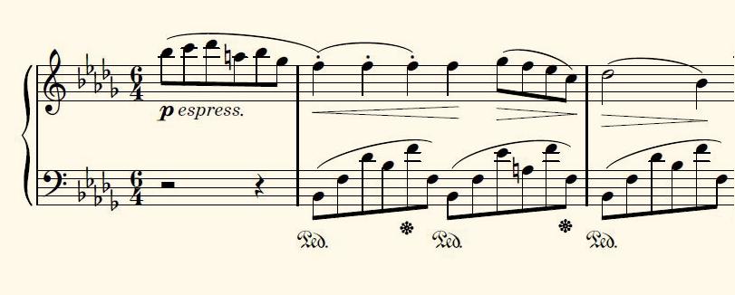 Figura 9. Partitura del inicio del Nocturno op. 9 nº 1 de Fr. Chopin.