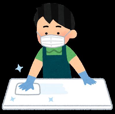 テーブルを消毒する店員のイラスト(男性)