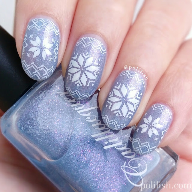 Christmas winter snowflakes nail art with Cadillacquer 'Awakening' | polilish