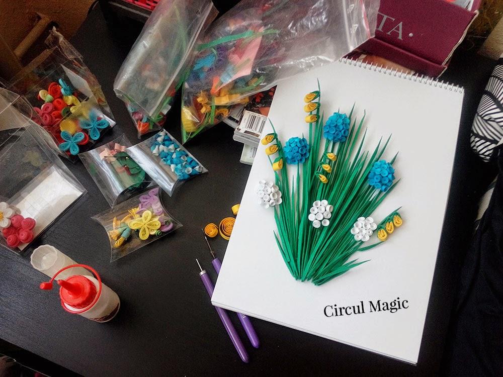 Circul Magic Quilling Tablou cu Flori Muscari si Frezii