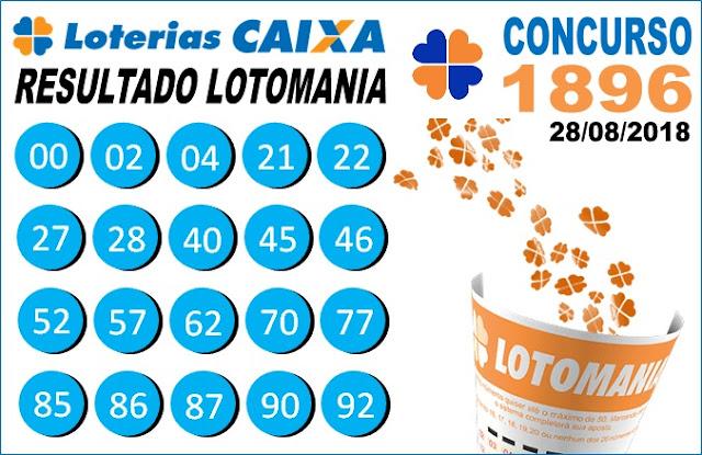 Resultado da Lotomania concurso 1896 de 28/08/2018 - ACUMULOU!!! (Imagem: Informe Notícias)