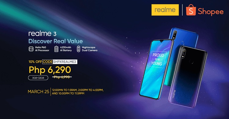Shopee to Offer Realme 3 at Discounted Price on March 25
