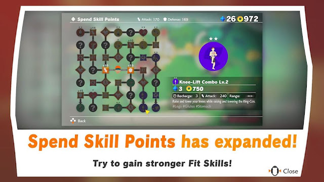 Ring Fit Adventure expanded Spend Skill Points tree unlocked