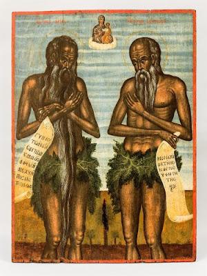 Ο Άγιος Ονούφριος και ο Άγιος Πέτρος ο Αθωνίτης. Οι μορφές των δύο ασκητών ακολουθούν πρότυπα που καθιερώθηκαν στην κρητική ζωγραφική από το β΄ μισό του 16ου αι. 0,775x0,57 μ. 18ος αι