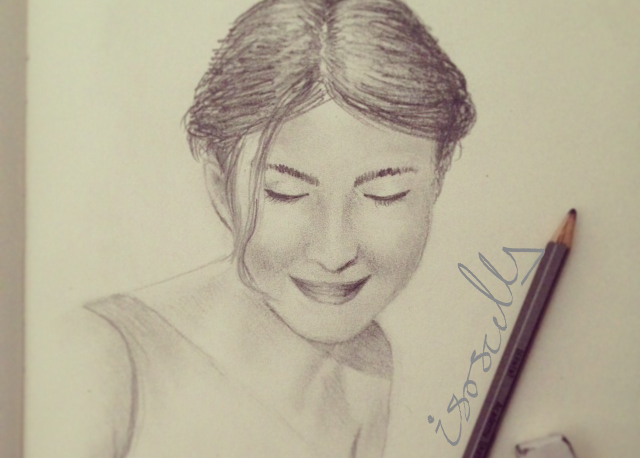 Art portrait pencil sketch lady