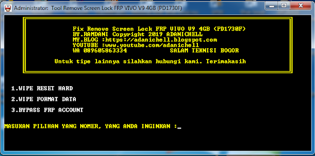 Tool Remove Screen Lock FRP VIVO V9 4GB (PD1730F)