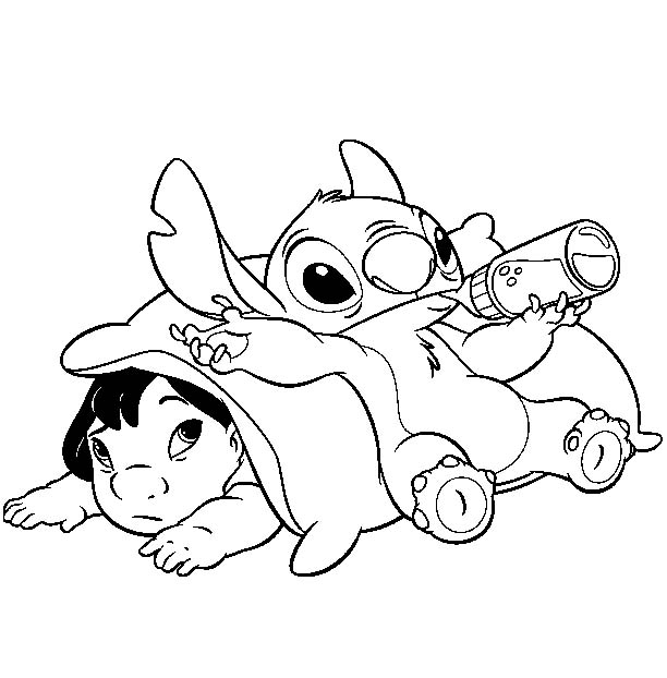 disney stitch coloring page - stich free colouring pages