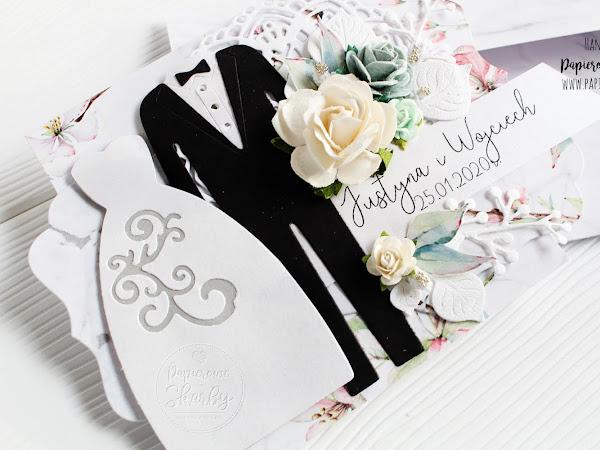 Pastelowa kopertówka ślubna Suknia i Garnitur