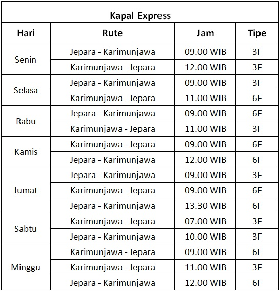 jadwal kapal express