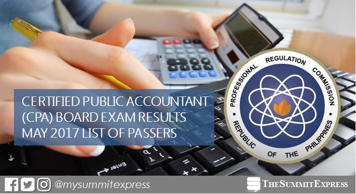 List of Passers: May 2017 CPA board exam results