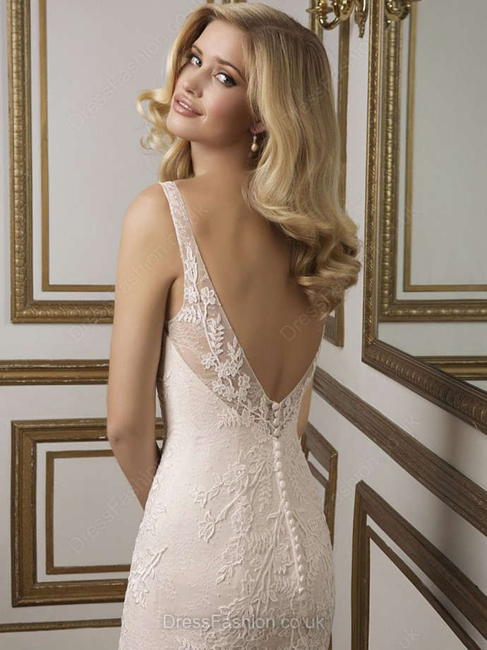 Trumpet/Mermaid Lace with Buttons Court Train Ivory Open Back Wedding Dress