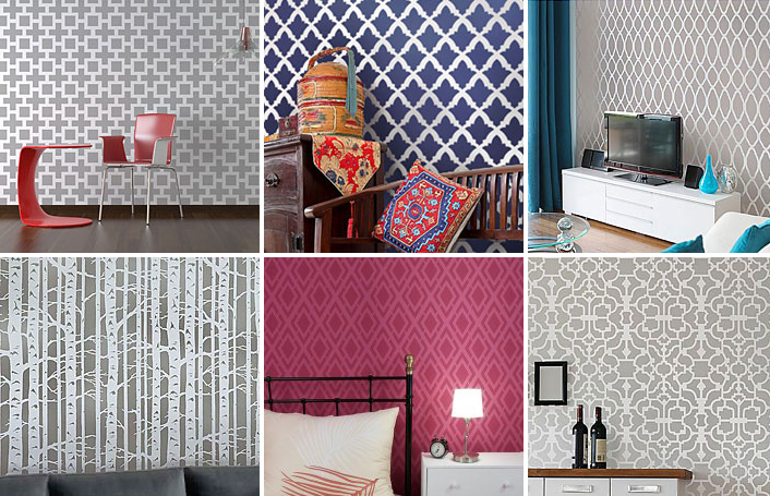 Paint That Looks Like Wallpaper diy idea: stenciled wallpaper | how about orange
