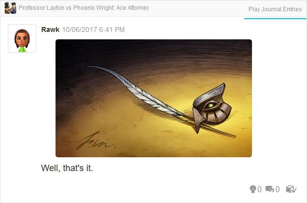 Professor Layton vs. Phoenix Wright Ace Attorney fin quill