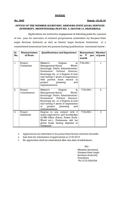 Project consultant, Project Coordinators and Project Assistants posts in HSLSA, Haryana