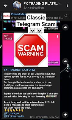 Telegram classic trading scam