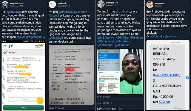 Pilpres 2019 Membalik 2014, Publik Kini Berbondong Sumbang Prabowo, Dari Kuli-Ojek-Honorer-DLL